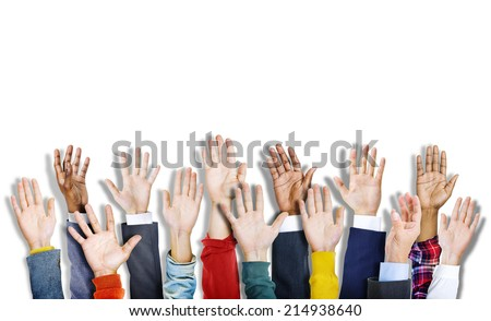 Group of Multiethnic Diverse Colorful Hands Raised - stock photo