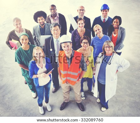 Group of Multiethnic Diverse People with Different Jobs Concept - stock photo