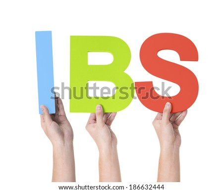 Group of Multiethnic Hands Holding IBS - stock photo