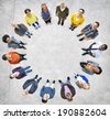 Group of Multiethnic People Forming a Circle - stock photo