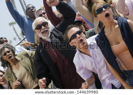 Group of multiethnic people shouting together - stock photo