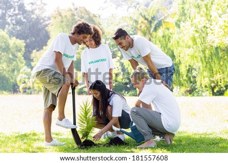 Group of multiethnic volunteers planting in park - stock photo