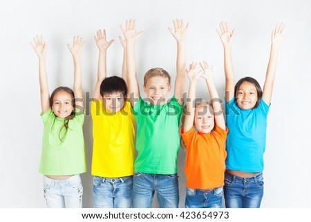 Group of multiracial funny children.