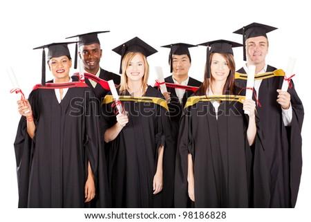 group of multiracial graduates on white - stock photo
