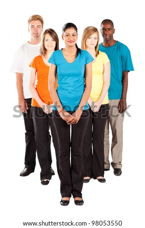 group of multiracial people isolated on white background - stock photo