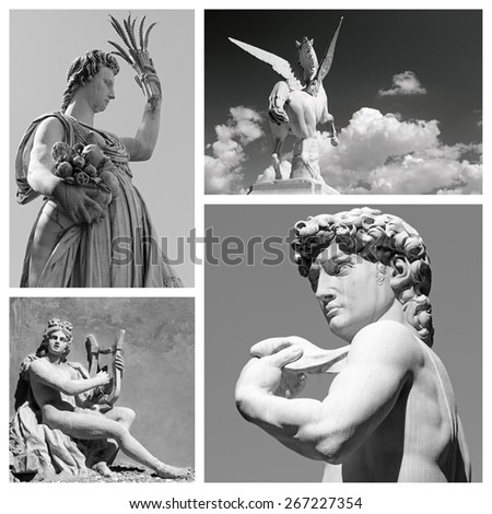 group of mythological statues of  : Demeter, Pegasus, Apollo and David,  Firenze,Italy  Europe - stock photo
