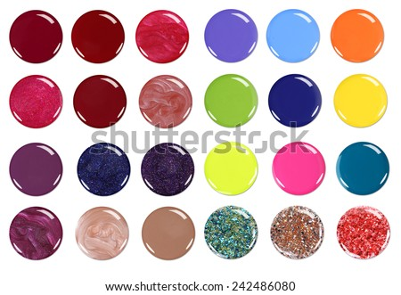 Group of nail polish circles isolated on white