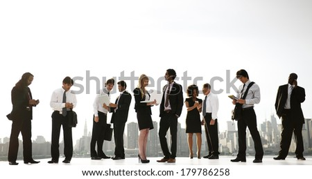 Group of New York City Office Workers Working Outdoors - stock photo