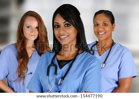 Group of nurses set in a hospital - stock photo