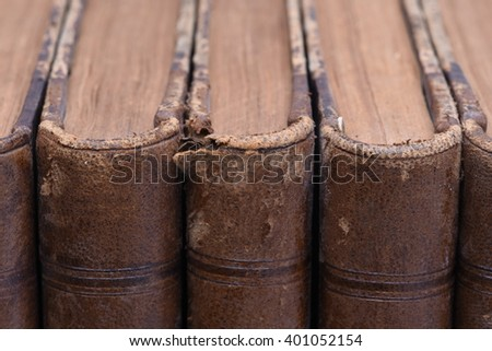 Group Of Old Numbered Antique Books - stock photo