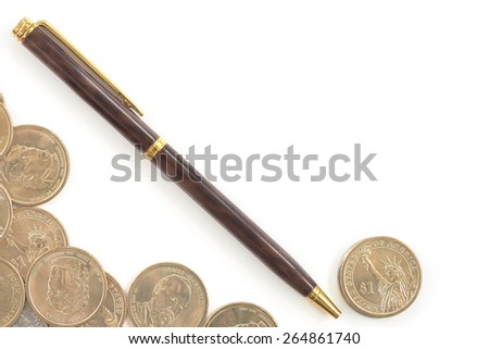 Group of one dollar coins with wooden texture pen copyspace over white background concept of using word to gain money - stock photo