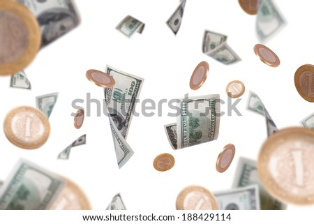 Group of one hundred dollar banknotes and coins flying, isolated on white background. - stock photo