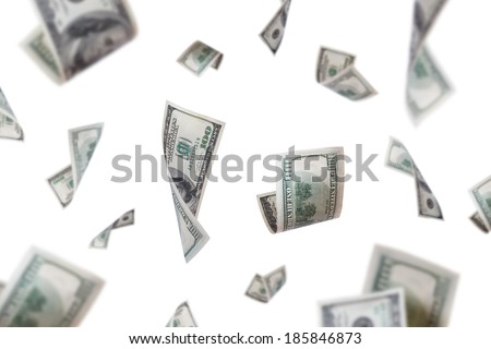 Group of one hundred dollar banknotes flying, isolated on white background.