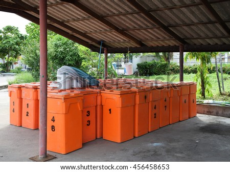 Group of orange color water tank.