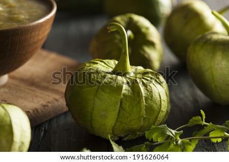 Group of Organic Green Tomatillos on a Background - stock photo