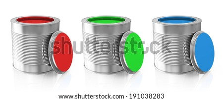 Group of Paint Cans isolated on white background (RGB Concept)