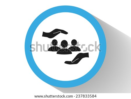 group of people and hand web icon.  - stock photo
