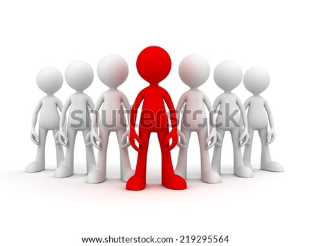 group of people and leader - stock photo