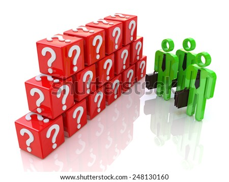 Group of people and question mark. 3d rendered illustration  - stock photo