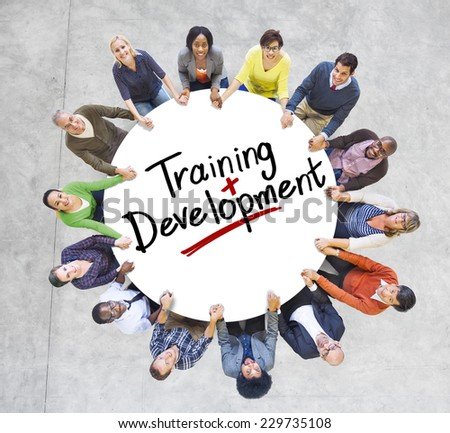 Group of People and word Training Development - stock photo