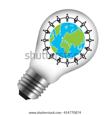 Group of People Around The Earth Icon Inside Light Bulb Isolated on White Background - stock photo