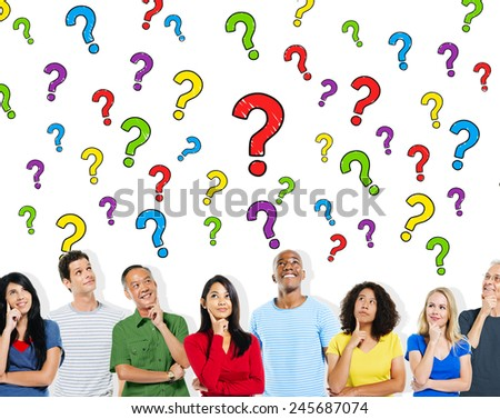 Group of People Asking Questions Information Concept - stock photo