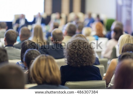Group of People at the Business Conference in Hall. Horizontal Image Composition