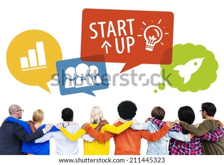 Group of People Backwards with Startup Concept