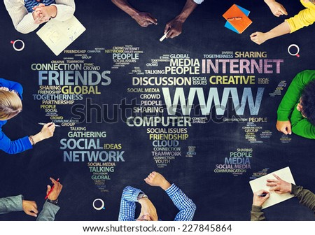 Group of People Blackboard Internet Concept - stock photo