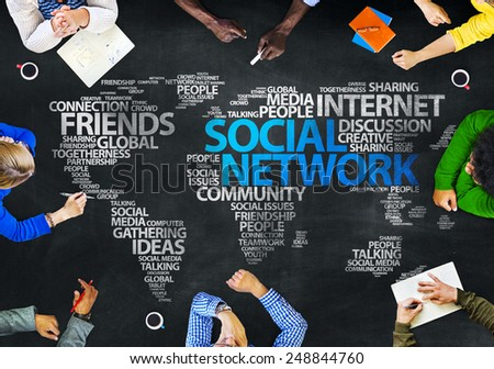 Group of People Blackboard Social Network Concept - stock photo