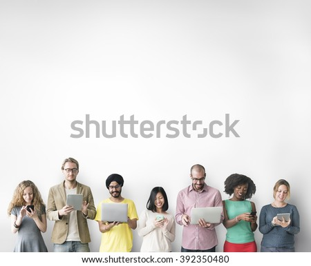 Group of People Connection Digital Device Concept - stock photo