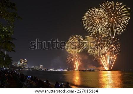 Group of people enjoying spectacular fireworks show in a carnival or holiday.