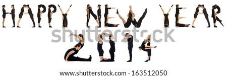 Group of people forming the phrase 'Happy new year', isolated on white background