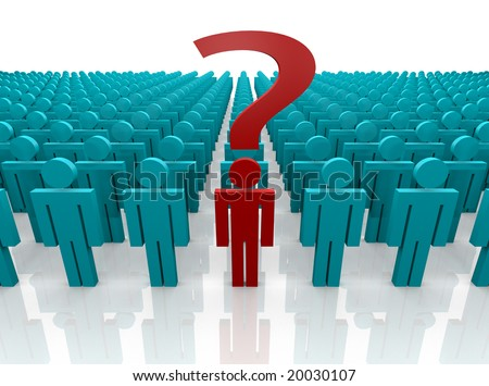 Group of people gathered with one person front and center with a question to ask.  Question mark prominent.