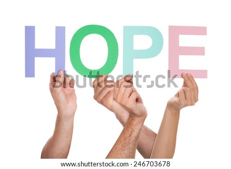 Group Of People Hands Holding Colorful Text Hope Over White Background - stock photo