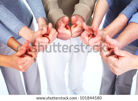 Group of people hands. Success background. - stock photo