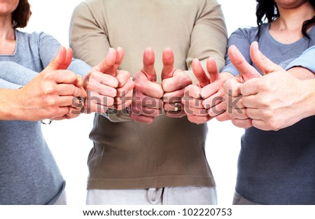Group of people hands. Success background.