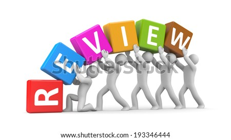 Group of people hold cubes with text review - stock photo