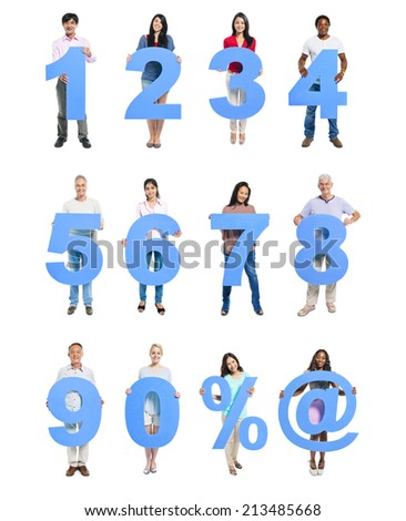 Group of People Holding Blue Numeral in a Row - stock photo