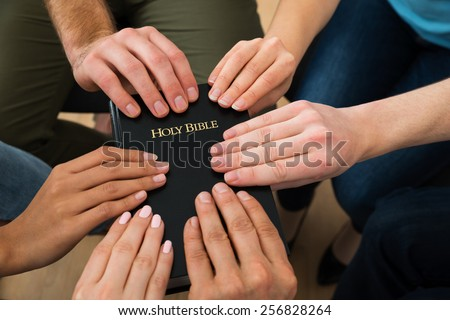 Group Of People Holding Holy Bible And Praying Together - stock photo