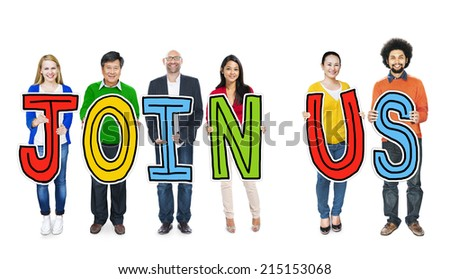 """Group of People Holding Letters """"Join Us"""" - stock photo"""