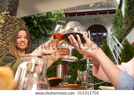 Group of people holding wineglasses and toasting with wine during a lunch in the restaurant. - stock photo