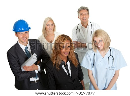 Group of people in different occupations and professions white background - stock photo
