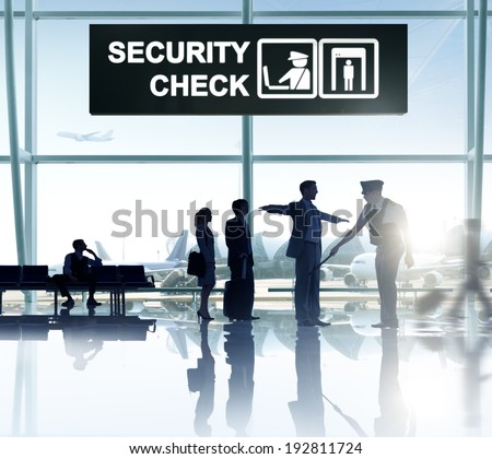 Group of People in the Airport - stock photo