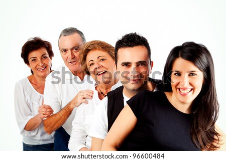 Group of people isolated - stock photo