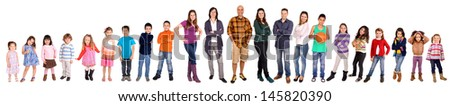 Group of people isolated in white - stock photo
