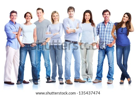 Group of people. Isolated on white background.
