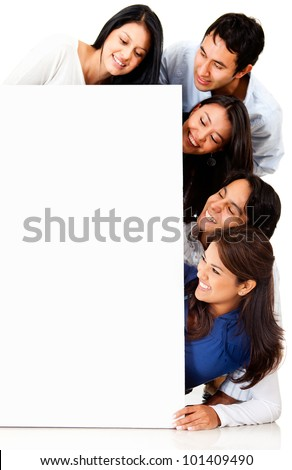 Group of people looking at a poster - isolated over a white background - stock photo