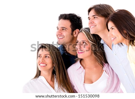Group of people looking something - isolated over a white background