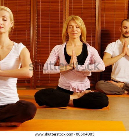Group of people meditating - stock photo
